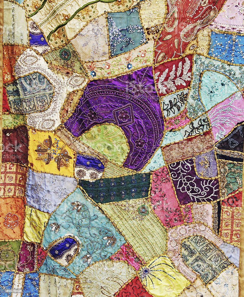 Multicolored handmade patchwork from Rajasthan,India stock photo
