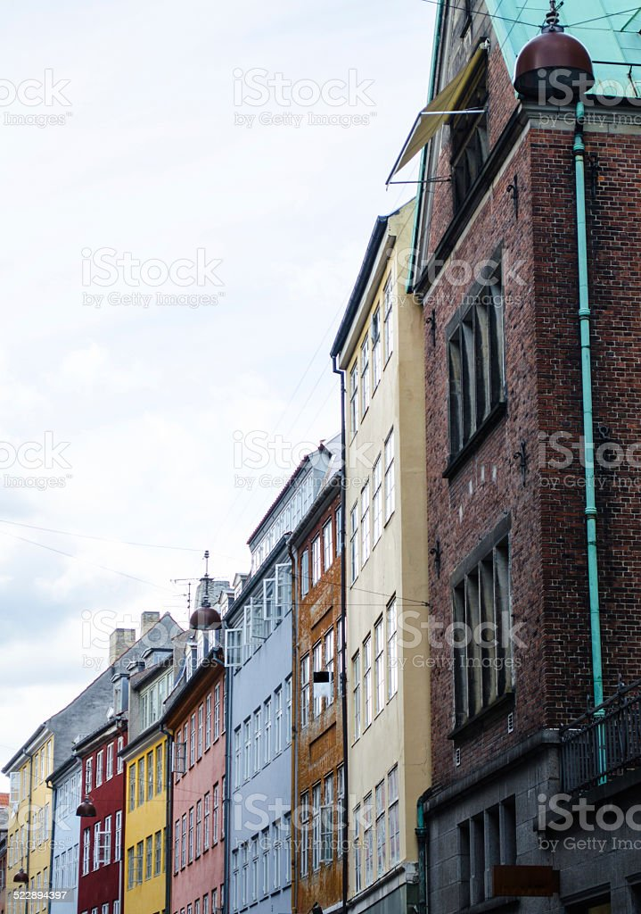 Multicolored house facade in Copenhagen stock photo