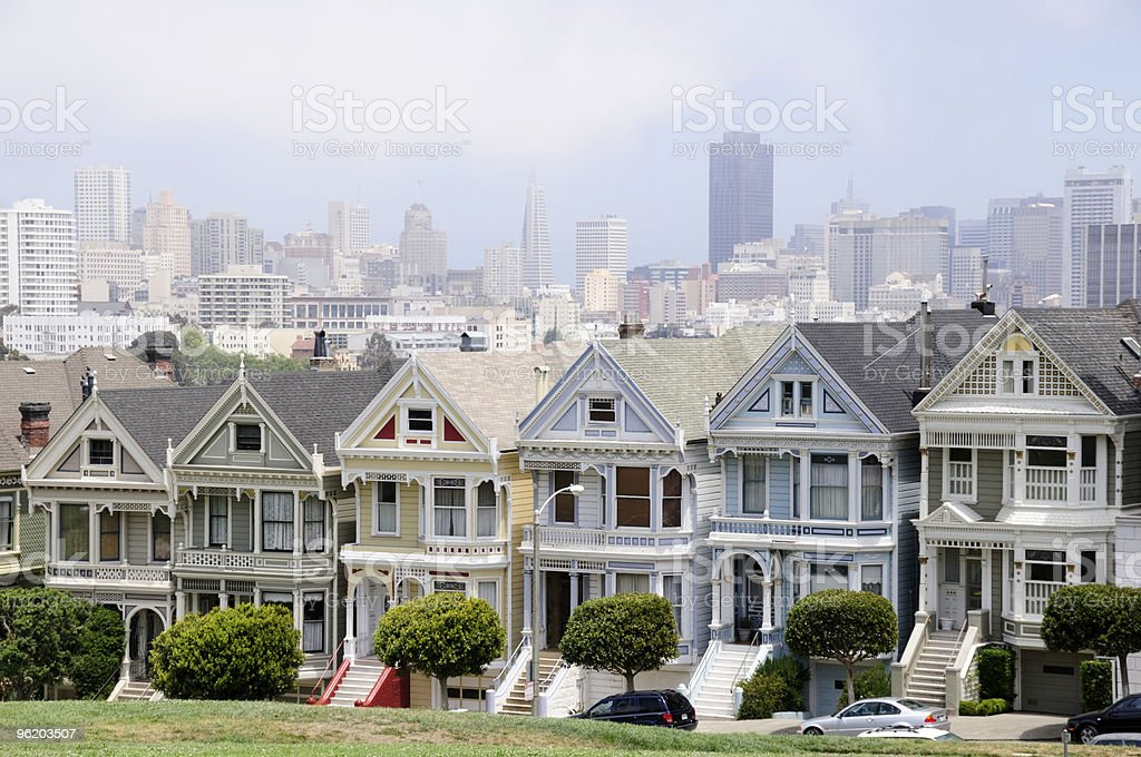 Multicolored houses - painted ladies in San Francisco royalty-free stock photo