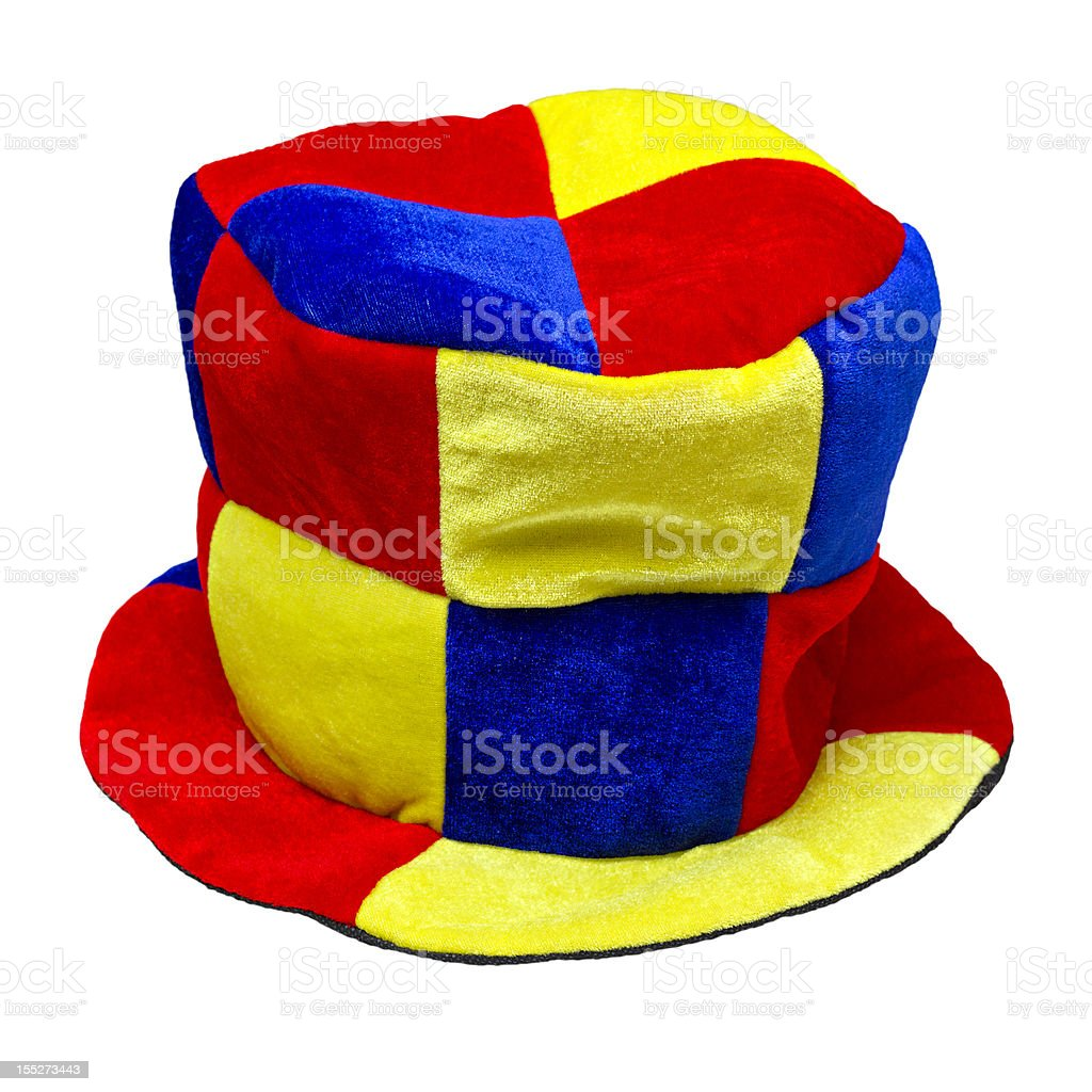 multi-colored jester hat isolated on white background stock photo
