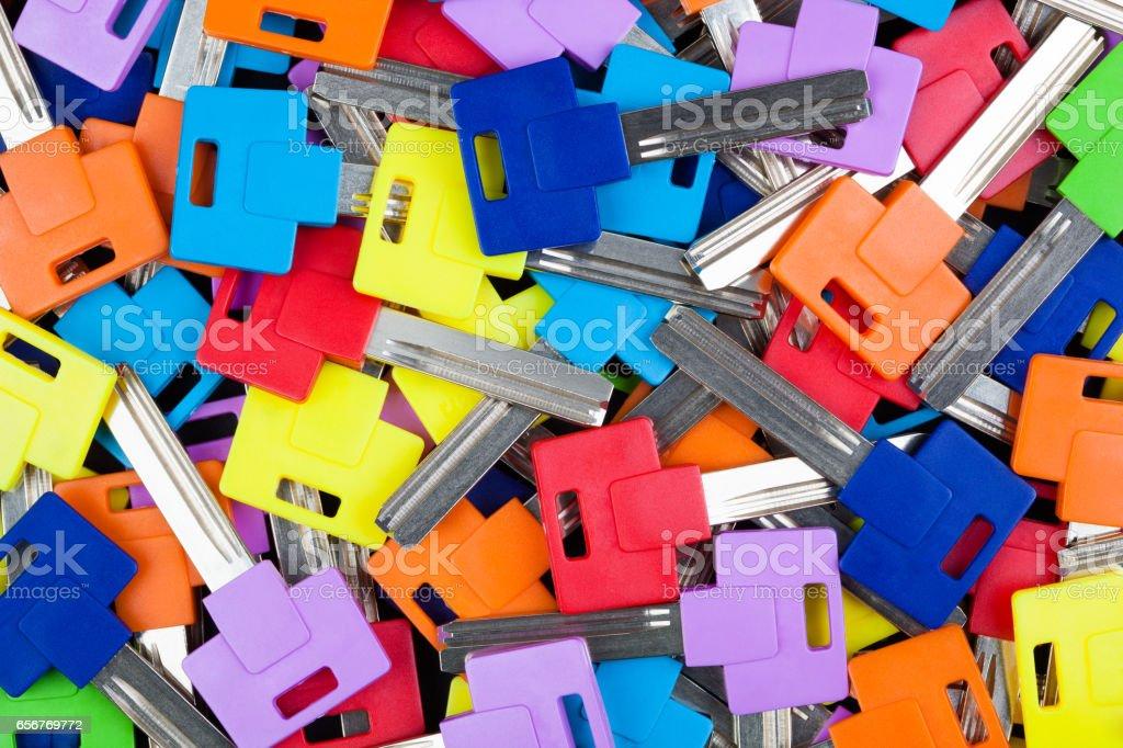 Multicolored key blanks. stock photo