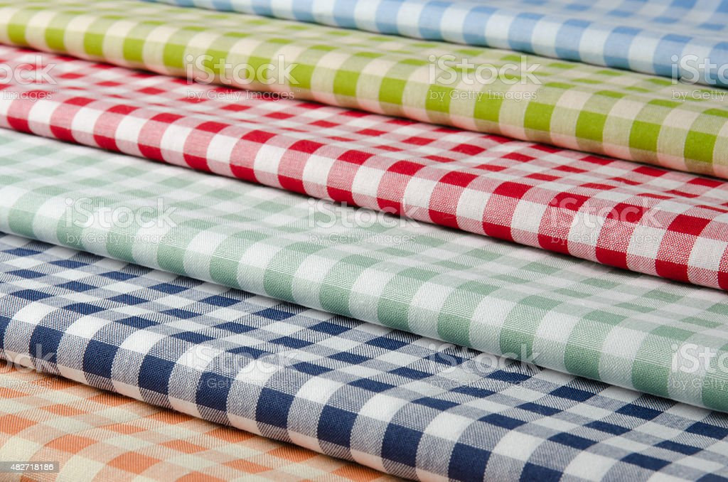 Multi-colored kitchen towels stock photo