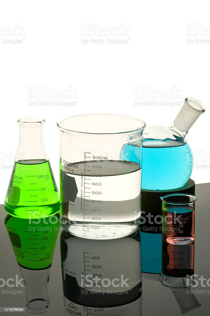 Multi-Colored Lab Glassware stock photo