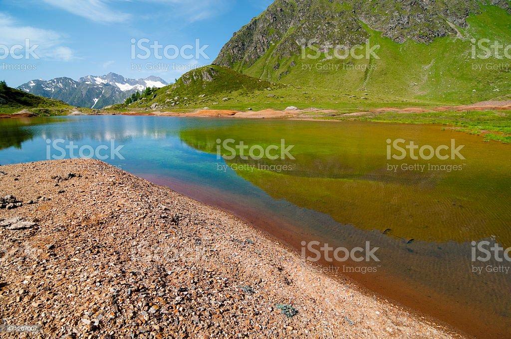 Multicolored lake near an abandoned zinc mine royalty-free stock photo