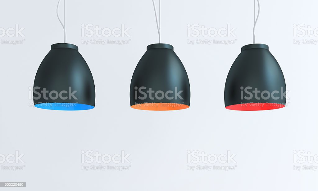 Multicolored lamp composition stock photo