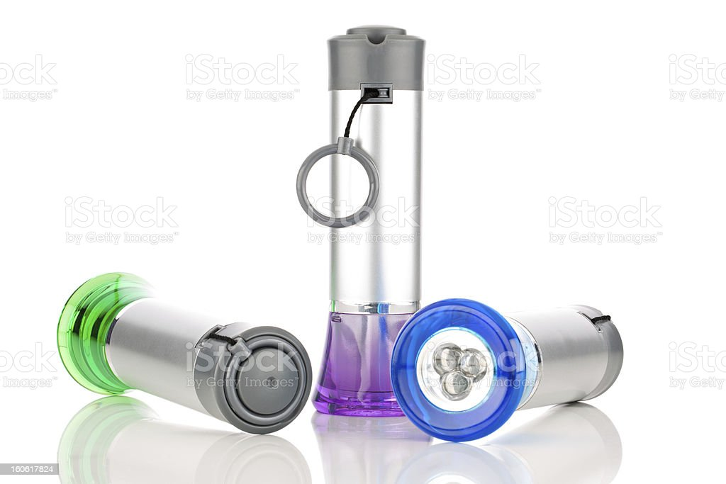 Multi-colored LED flashlights royalty-free stock photo