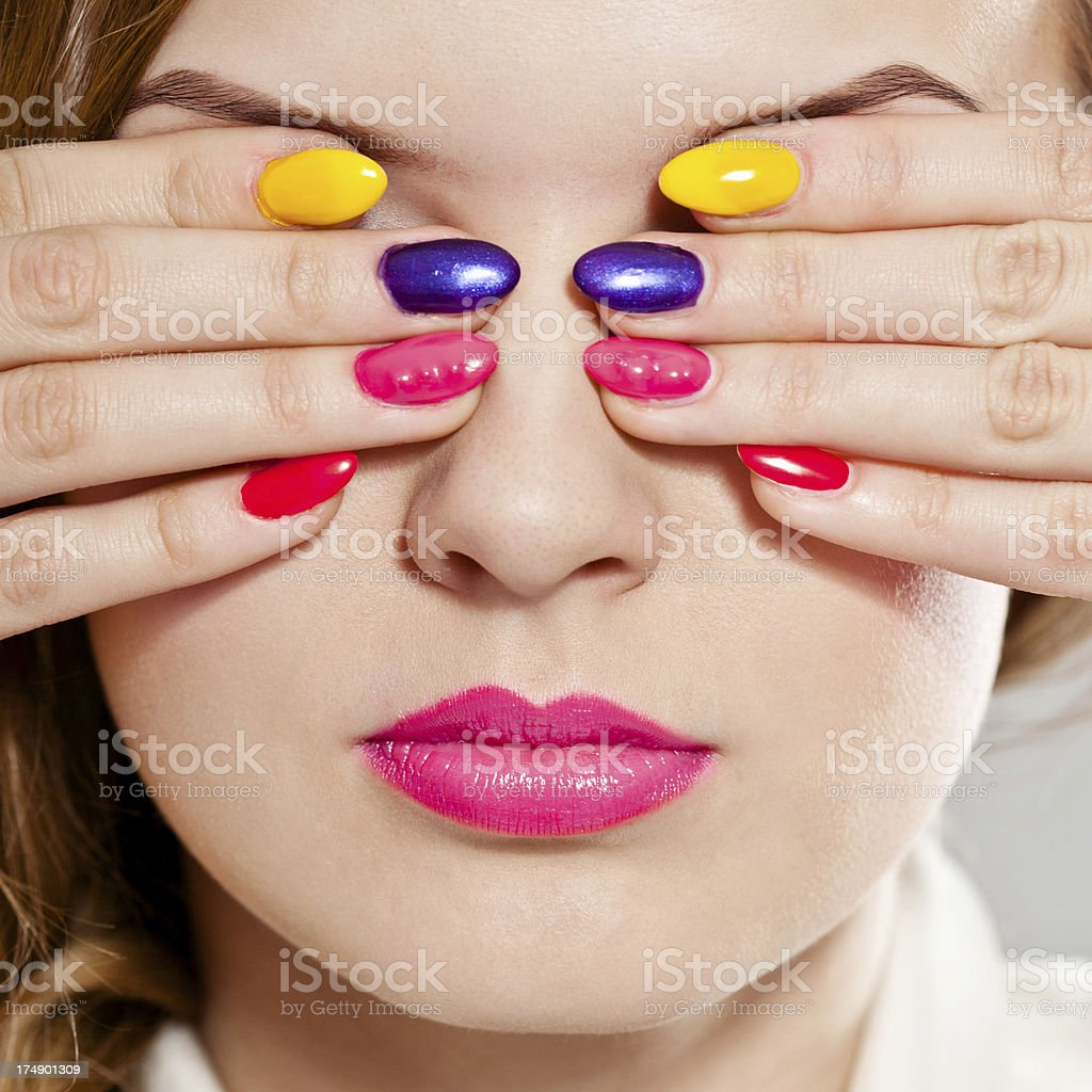 Multicolored manicure royalty-free stock photo