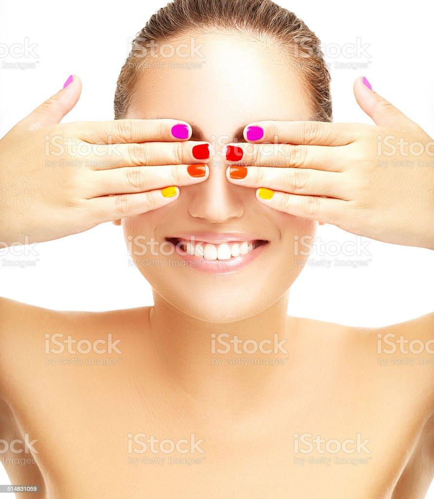 Multicolored manicure stock photo