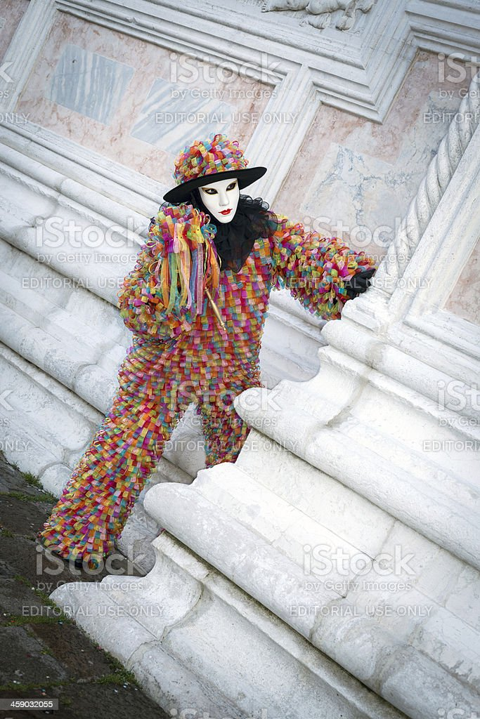 Multi-Colored Mask in Venice 2013 Carnival Italy royalty-free stock photo