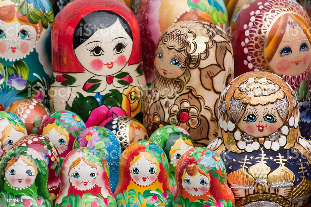 Multicolored Matryoshka dolls, full frame. stock photo