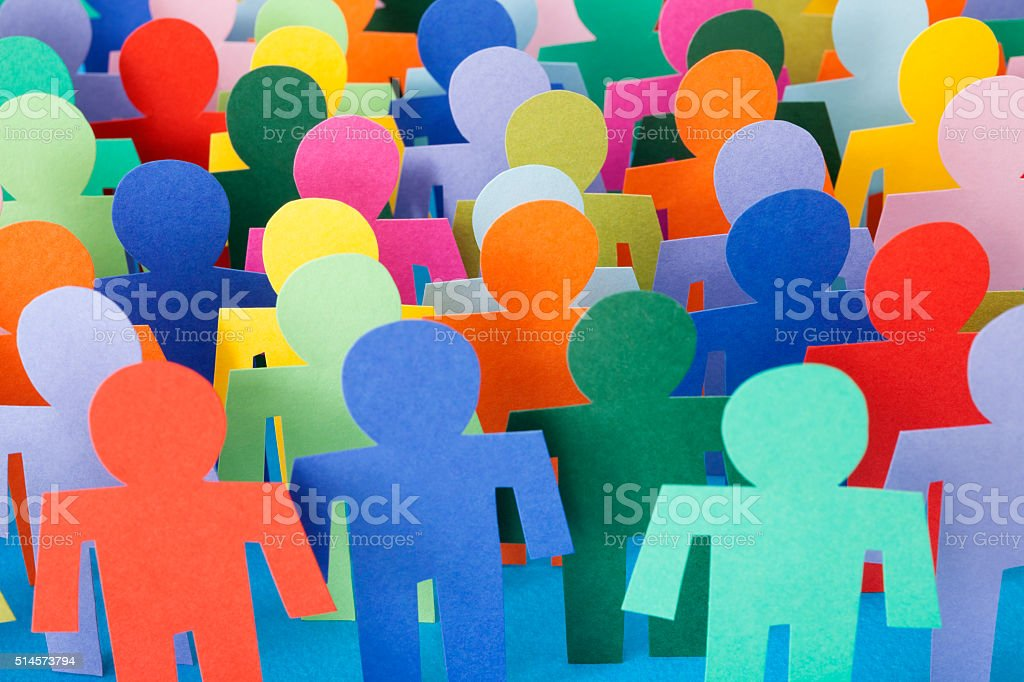 Multicolored men crowd stock photo