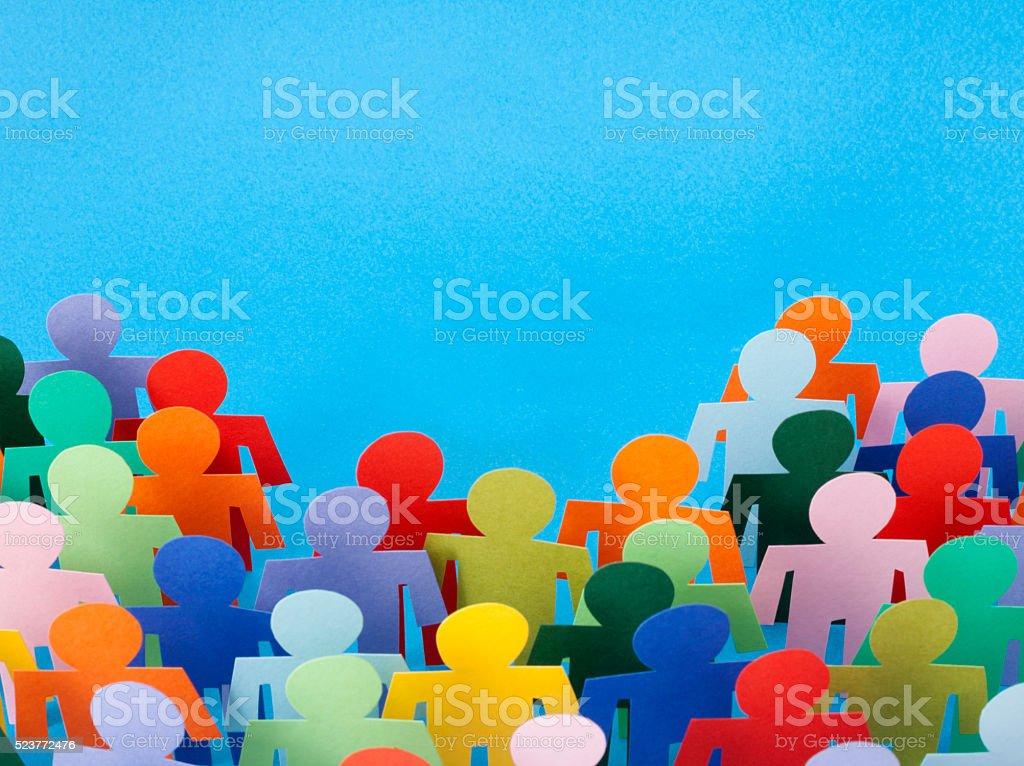 Multicolored men crowd stock photo