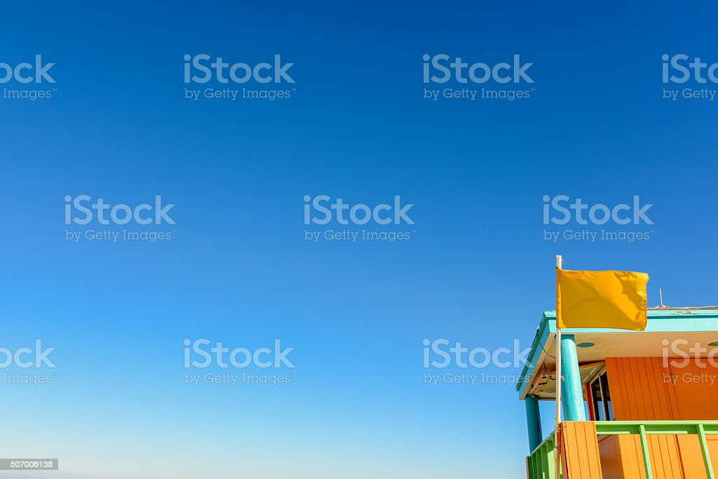 Multicolored Miami South Beach Lifeguard Stand Travel Desintations USA stock photo