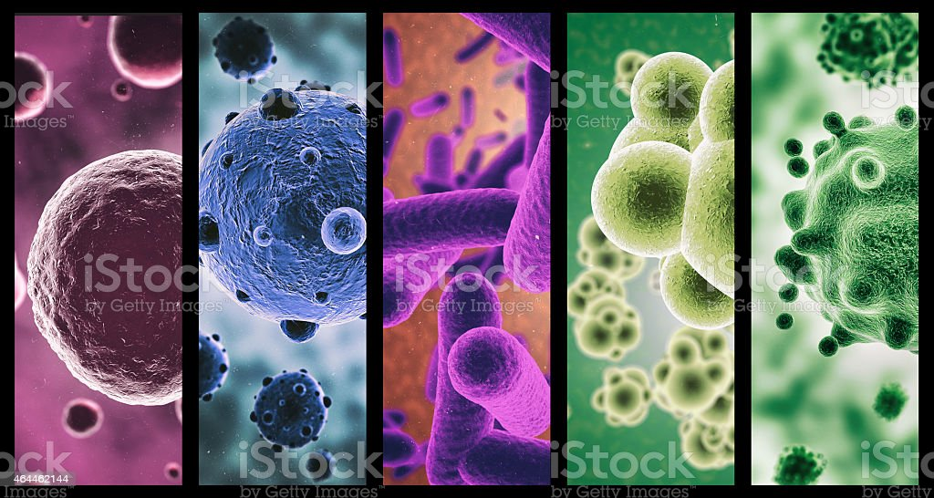 Multi-colored microbes stock photo