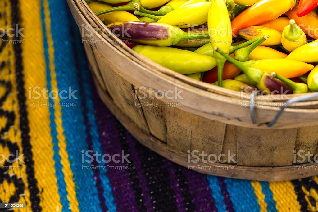 Multi-Colored NM Chile Peppers at Market, Mexican Blanket Background stock photo