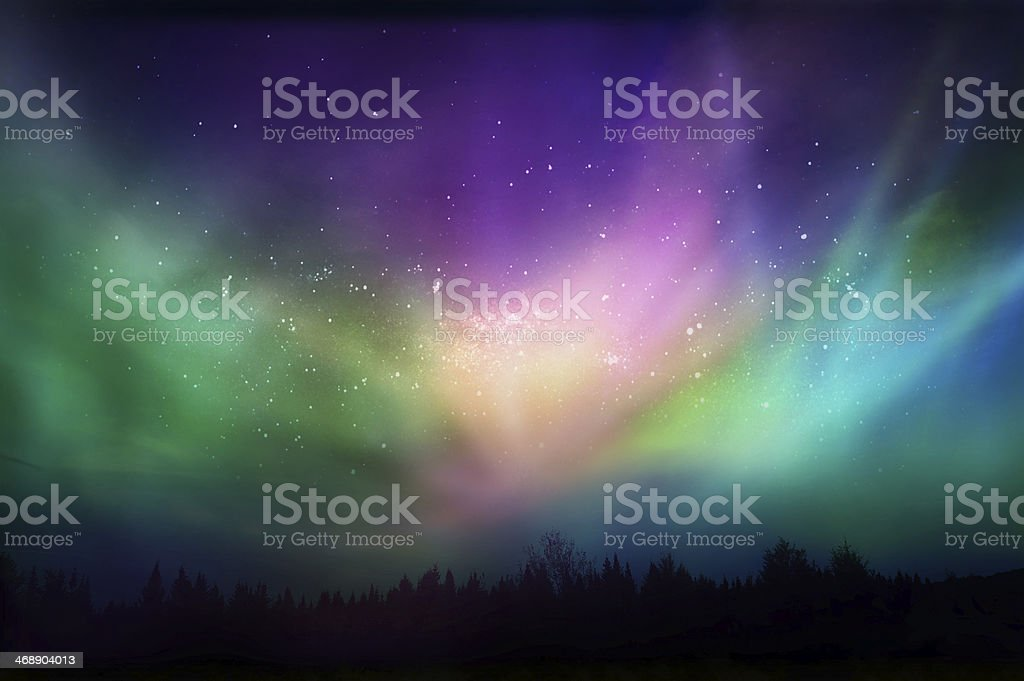 Multicolored northern lights (Aurora borealis)on Canadian forest stock photo