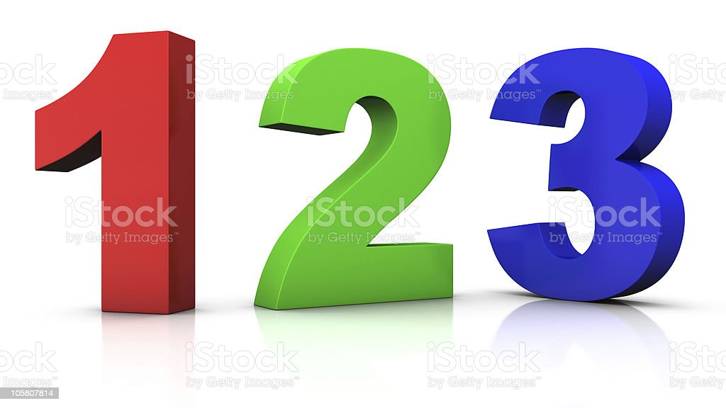 Multicolored numbers one, two, and three on white background stock photo