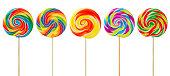 5 multicolored old fashioned swirl lollipops