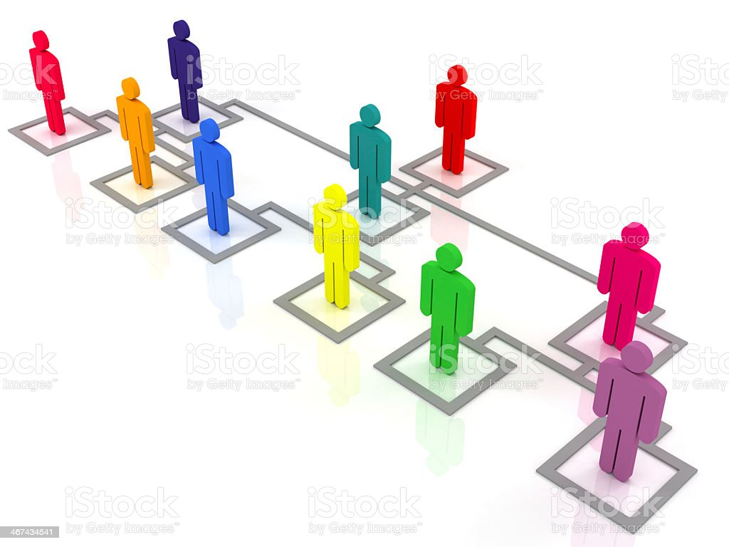 Multicolored organization chart with squares and people icon stock photo