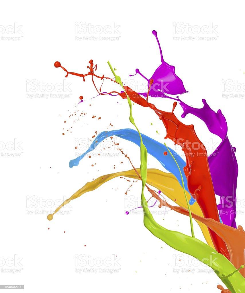 Multicolored paint splashes upwards royalty-free stock photo