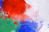 multicolored paint stains, drips, splashes, mixing