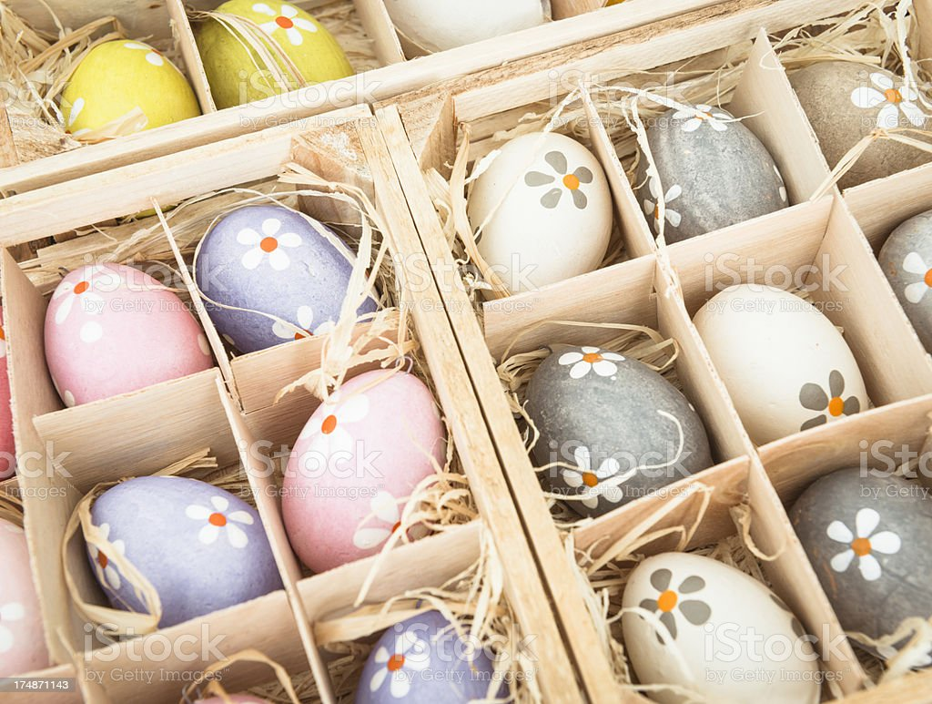 Multicolored painted easter eggs royalty-free stock photo