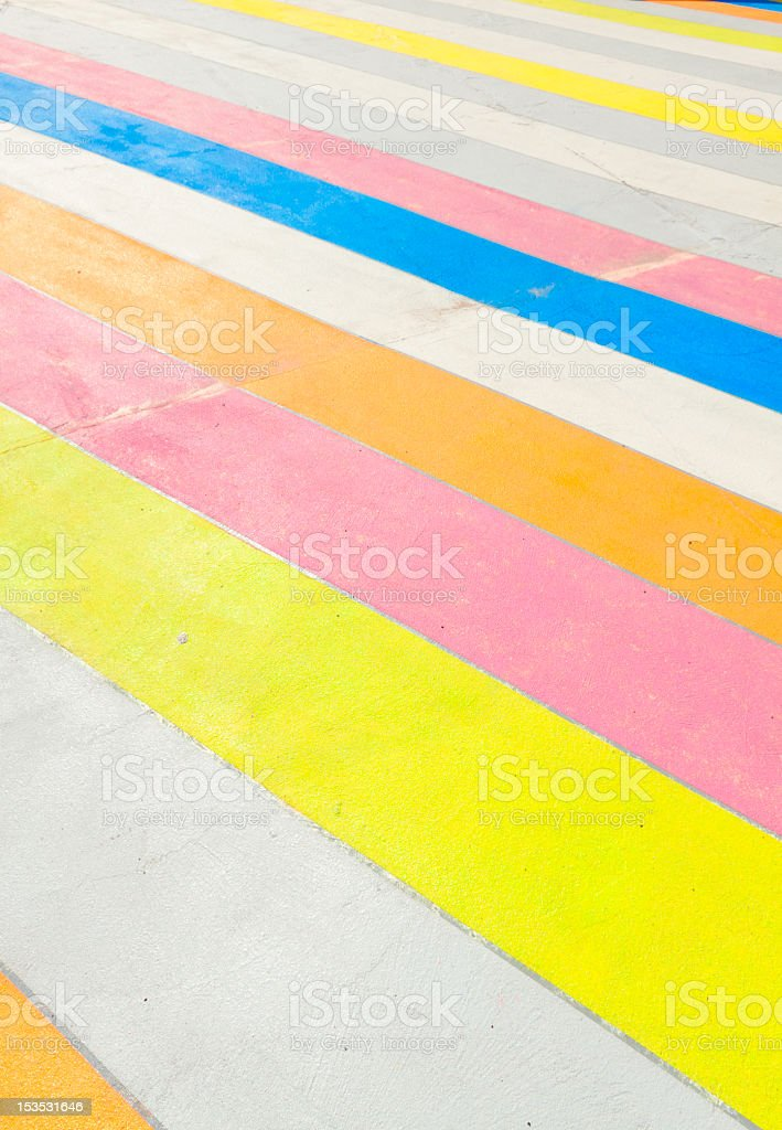 Multicolored painted sidewalk. royalty-free stock photo