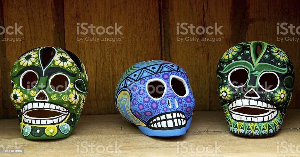 Multicolored Painted Skulls in Mexican Gift Shop royalty-free stock photo