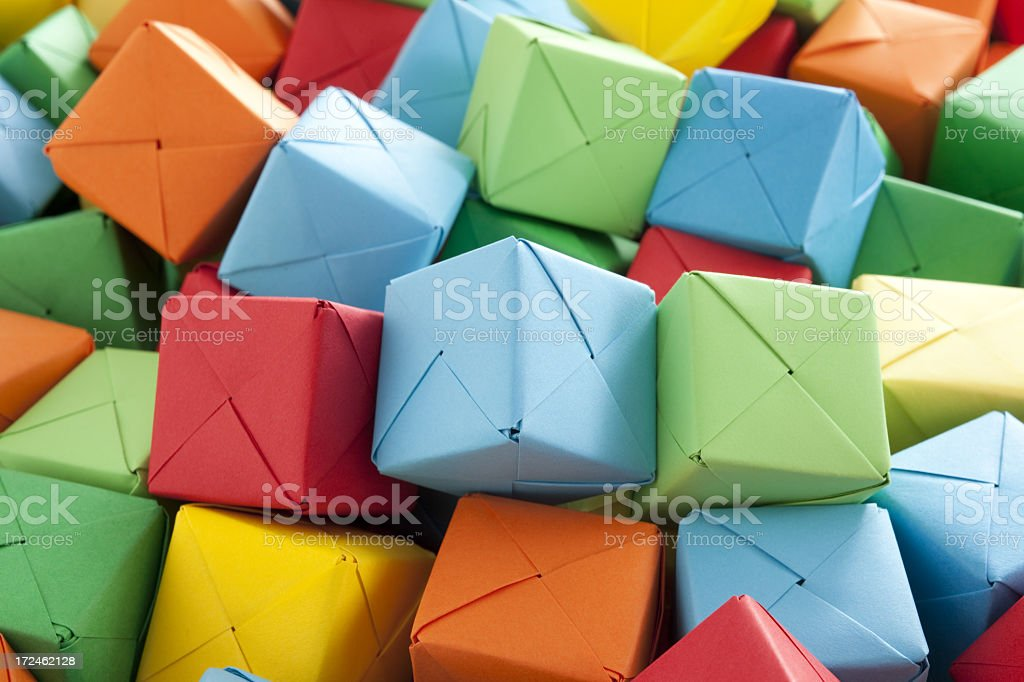 Multicolored paper cubes royalty-free stock photo