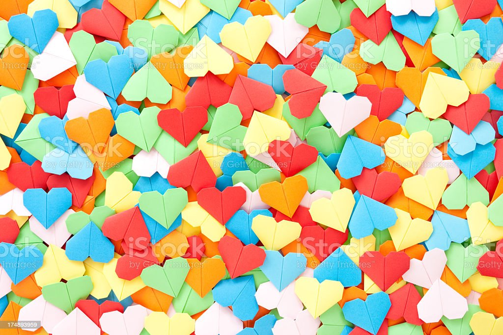 Multicolored paper hearts background royalty-free stock photo