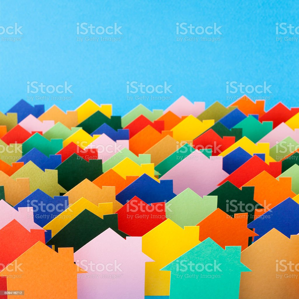Multicolored paper houses stock photo