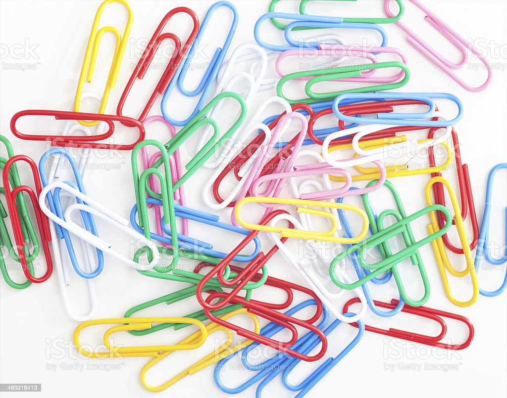 Multicolored Paperclips stock photo