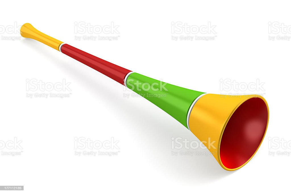 multicolored party horn isolated on white background stock photo
