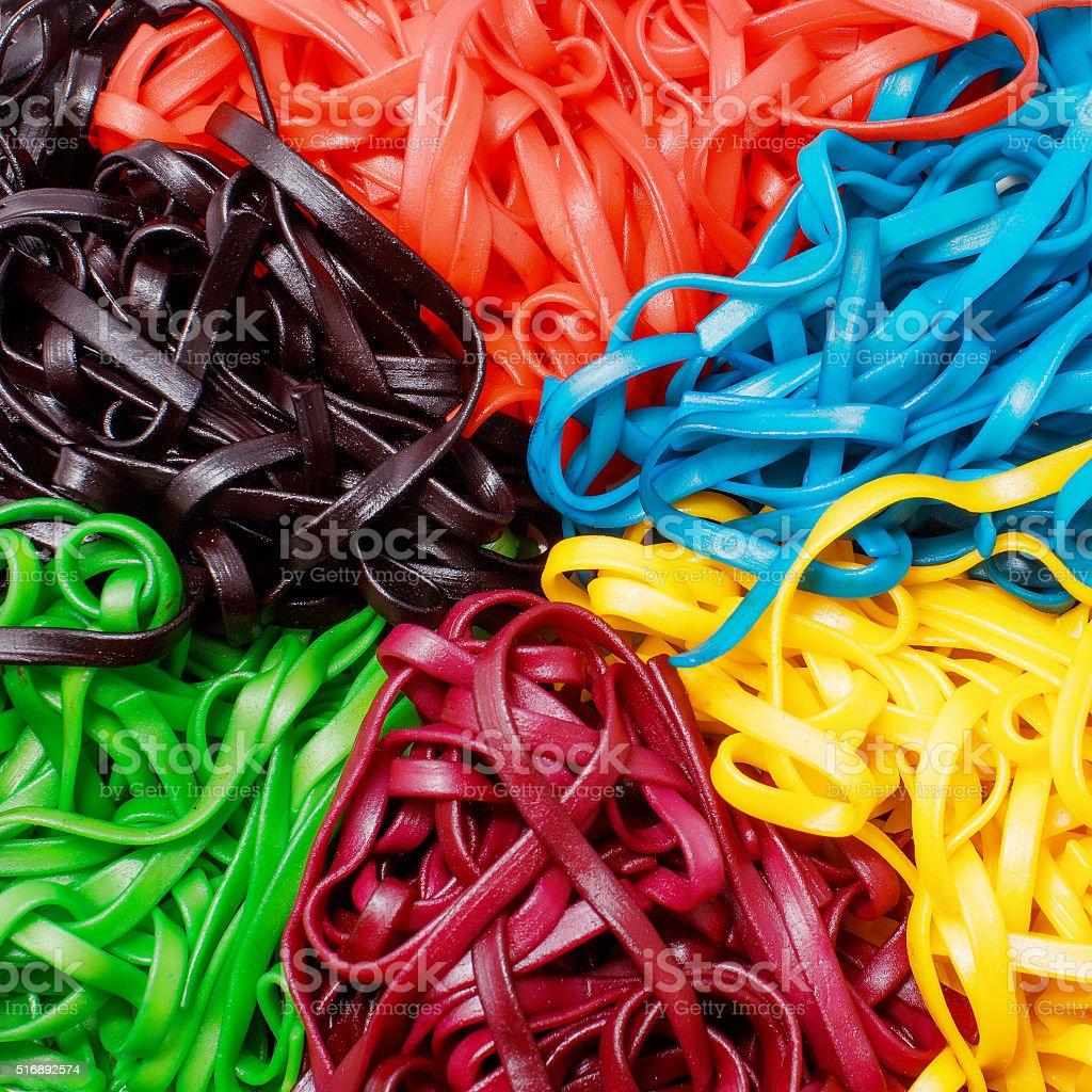 multicolored pasta close-up stock photo