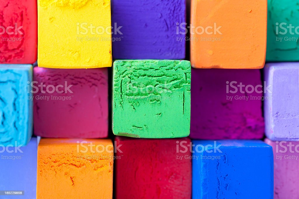 Multicolored pastel square chalk stock photo