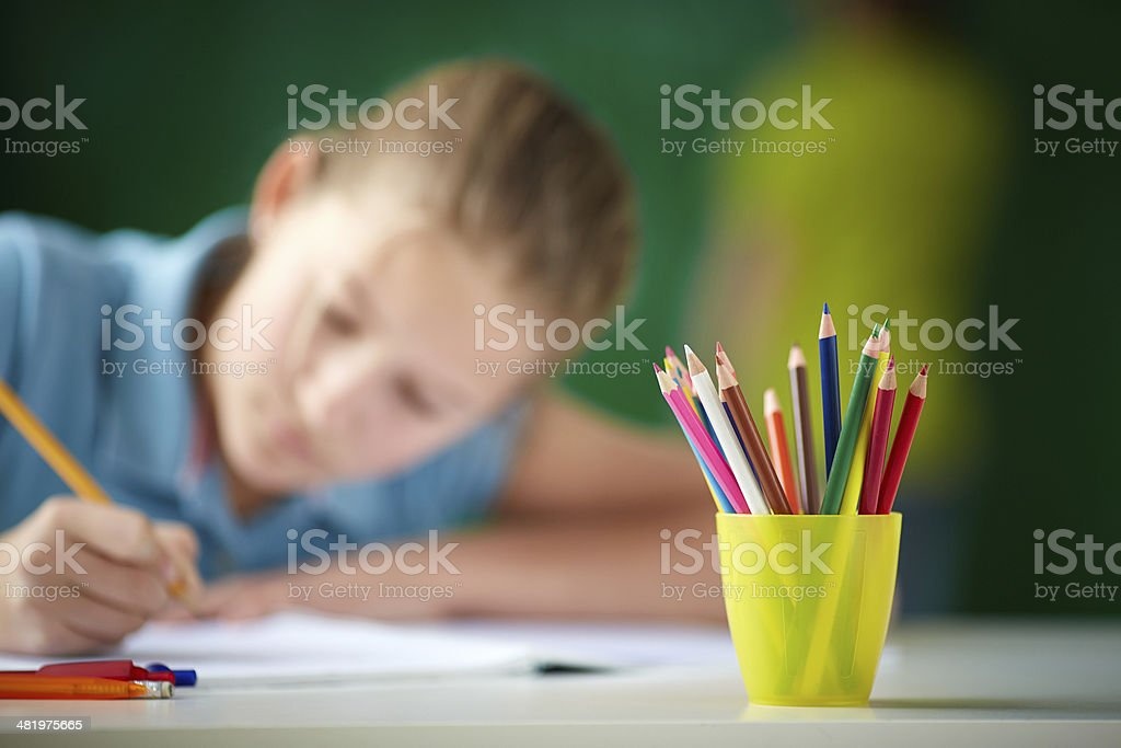 Multi-colored pencils royalty-free stock photo