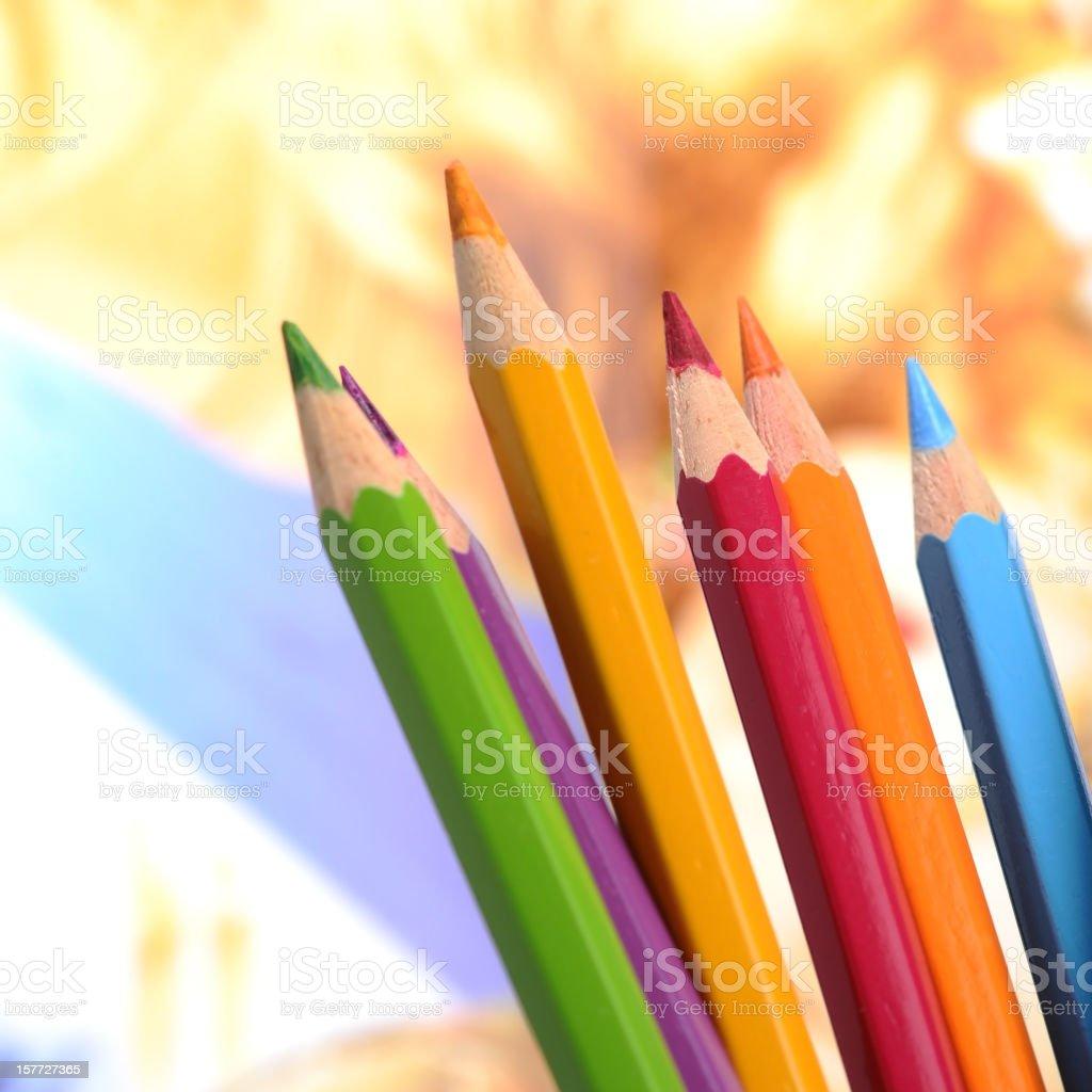 Multicolored pens stock photo