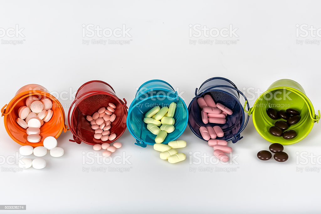 Multicolored pills stock photo
