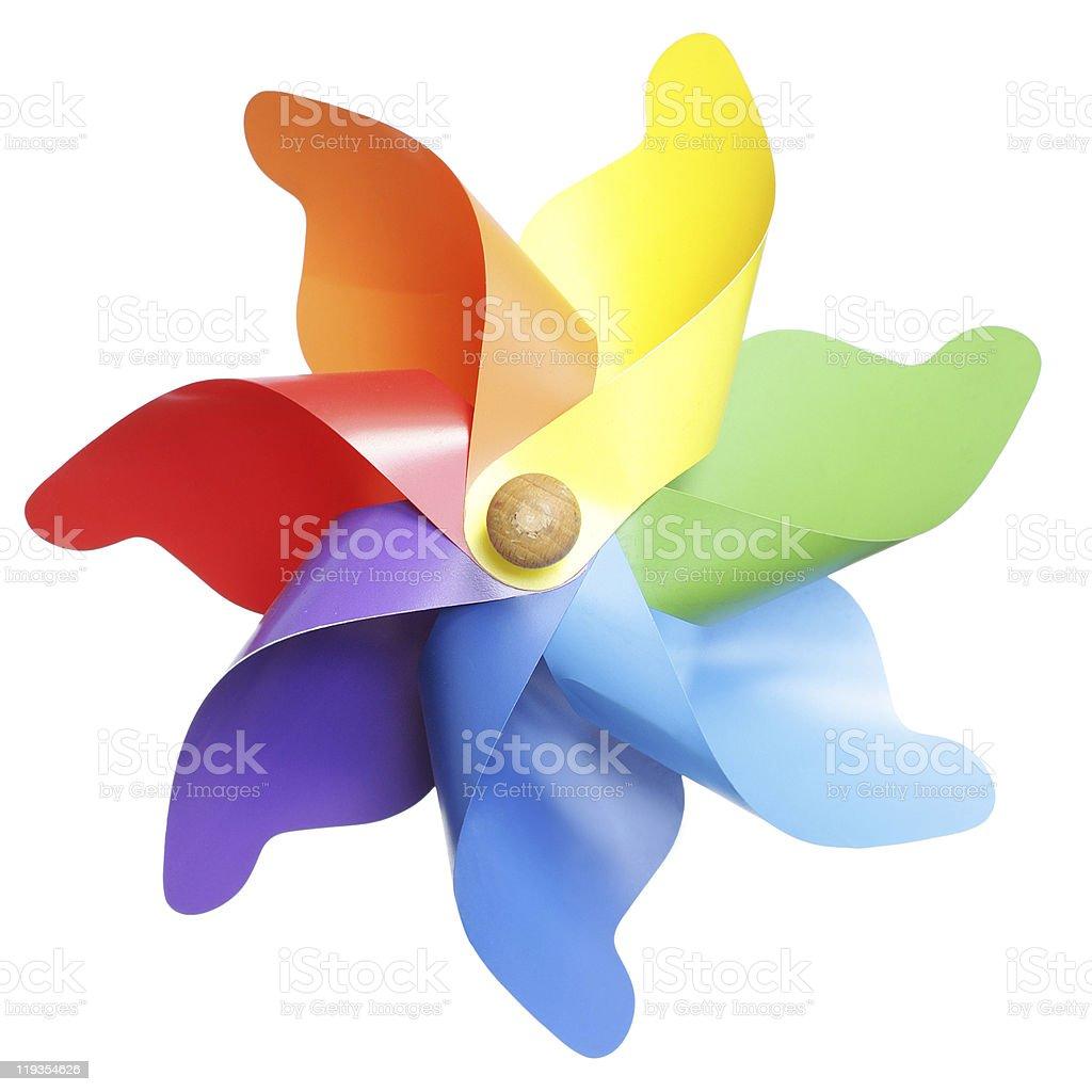 Multicolored pinwheel toy on white background stock photo