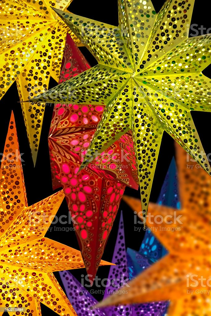 Multicolored pointy shapes made out of parchment royalty-free stock photo