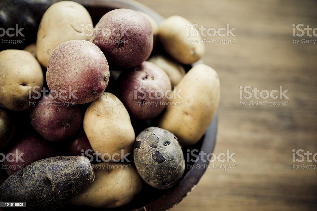 Multicolored Potatoes stock photo