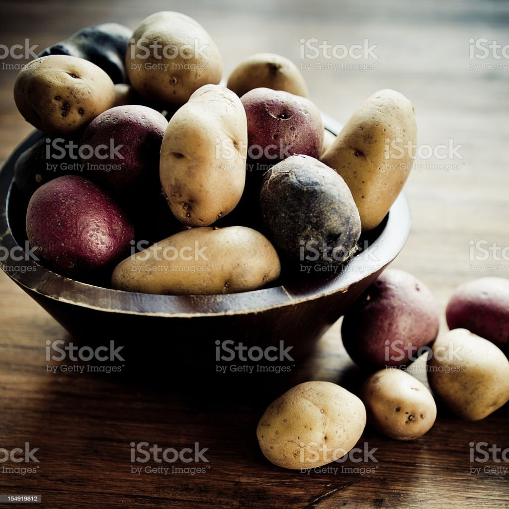 Multicolored Potatoes royalty-free stock photo