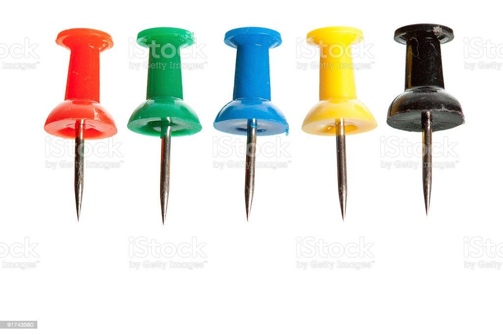 Multicolored push pins. stock photo