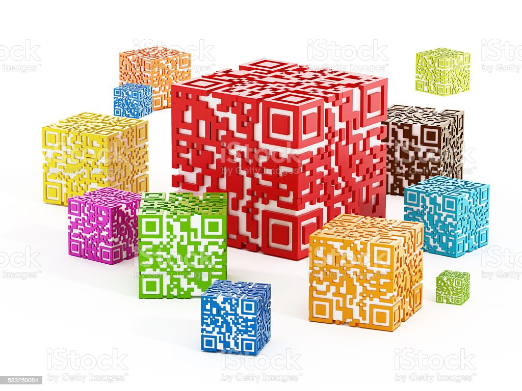 Multi-colored QR code cubes stock photo