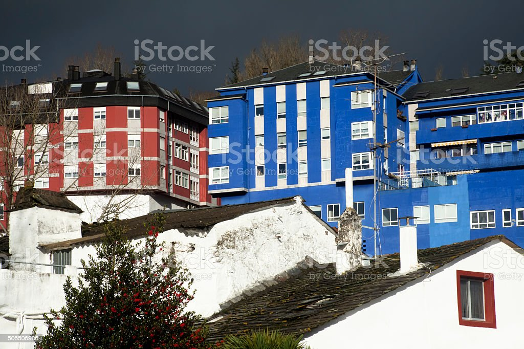 Multicolored residential buildings. stock photo