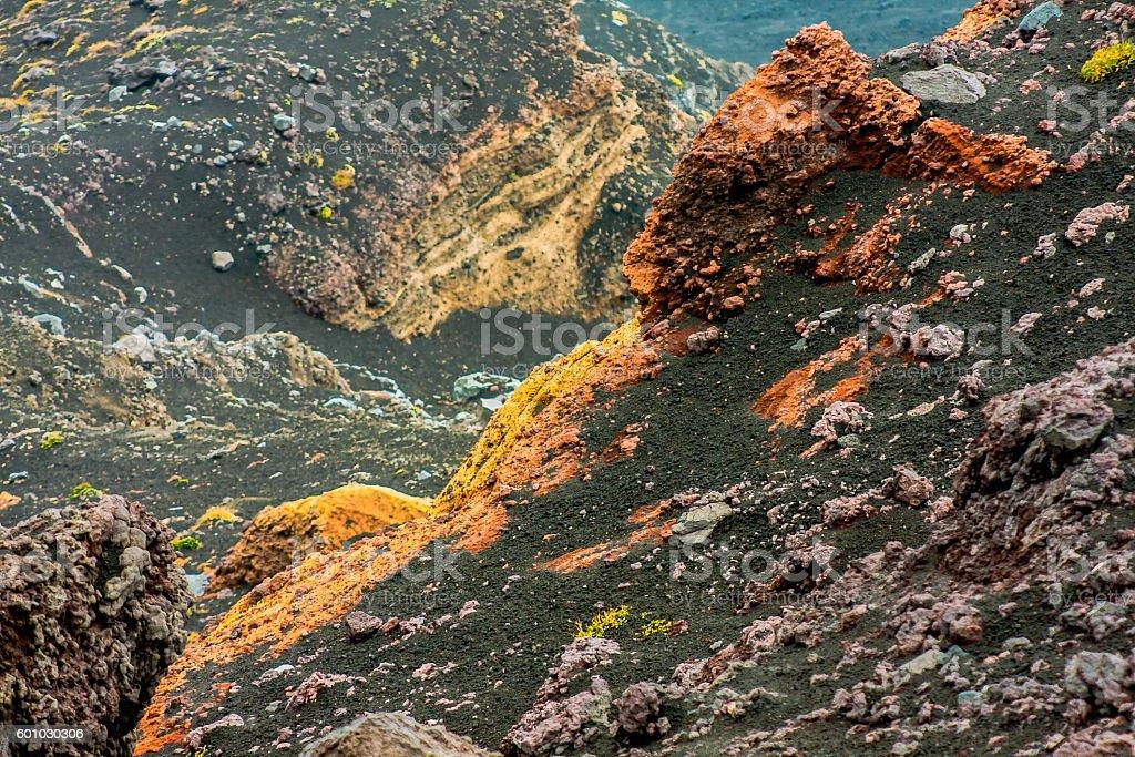 Multicolored Rocks at Etna stock photo