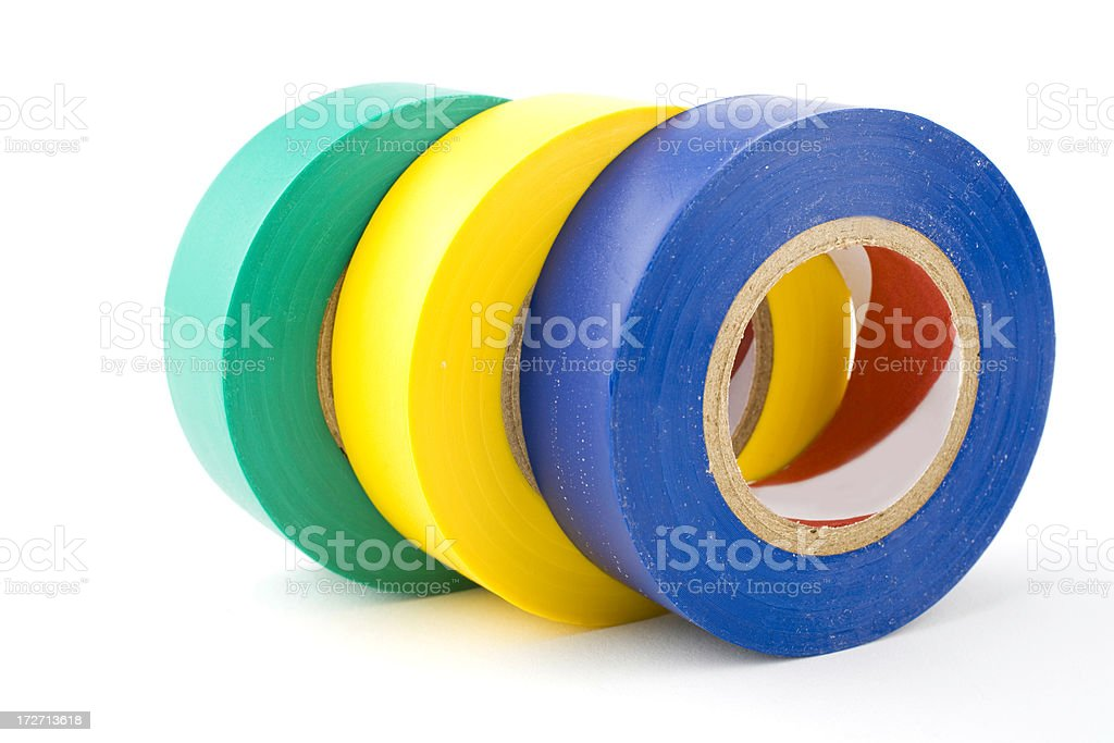 Multicolored rolls of electrical tape shingled on white stock photo