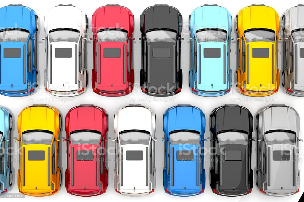 Multicolored rows of cars with sunroofs on white stock photo