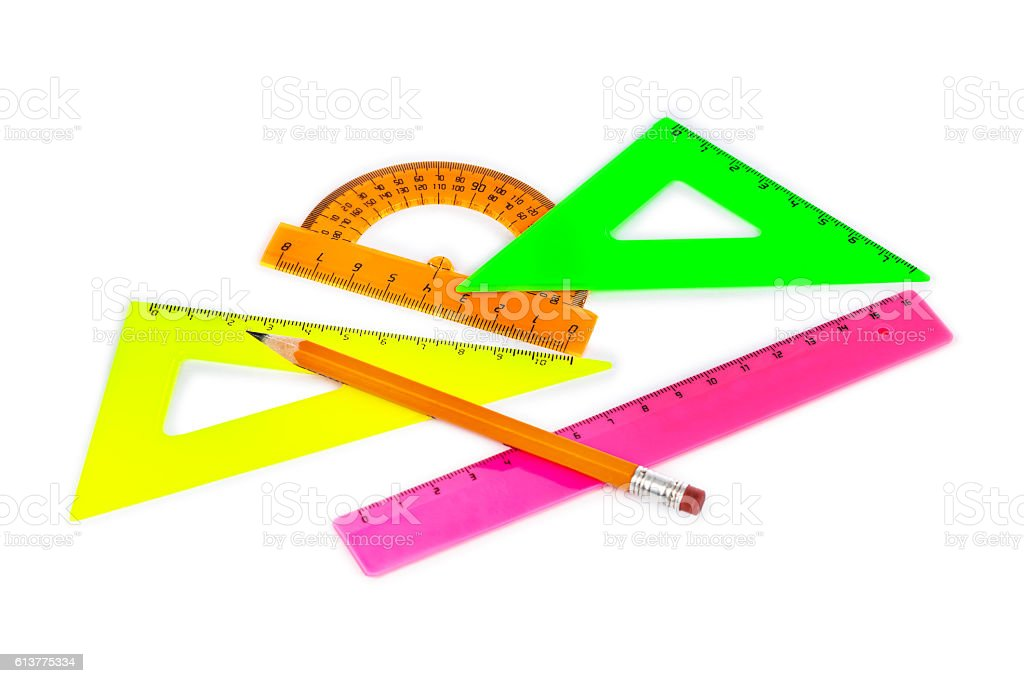 Multicolored rulers and pencil stock photo