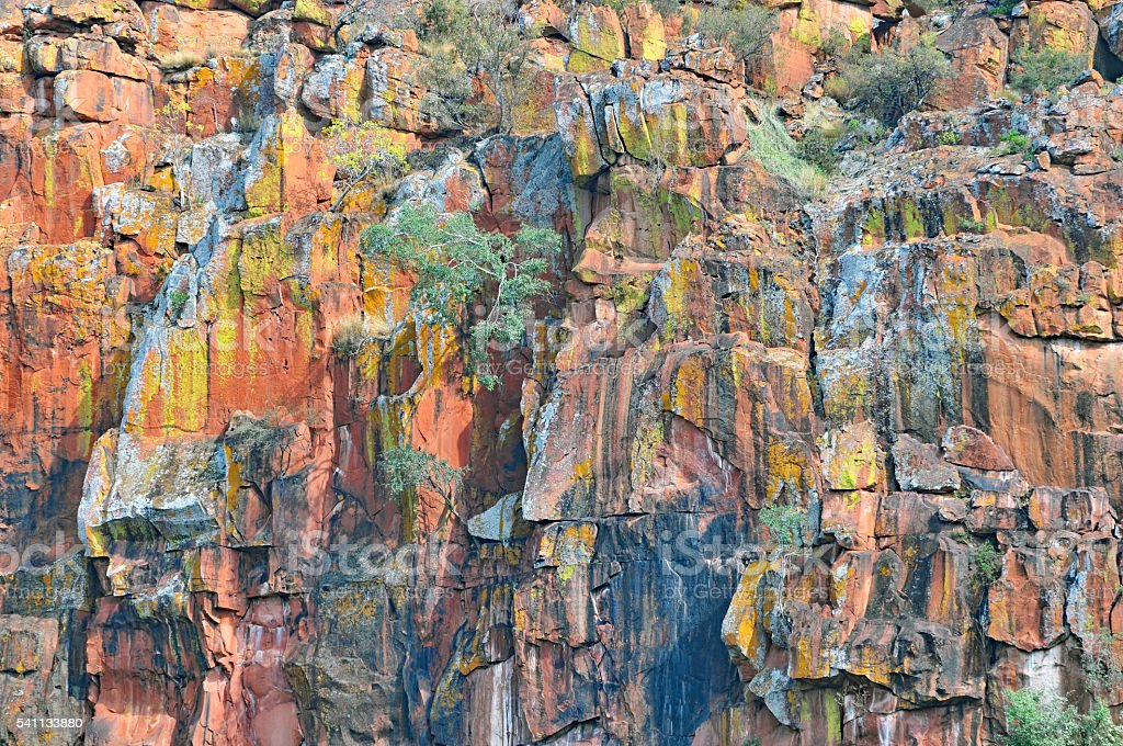 Multicolored sandstone cliffs at Waterberg Plateau,Namibia stock photo